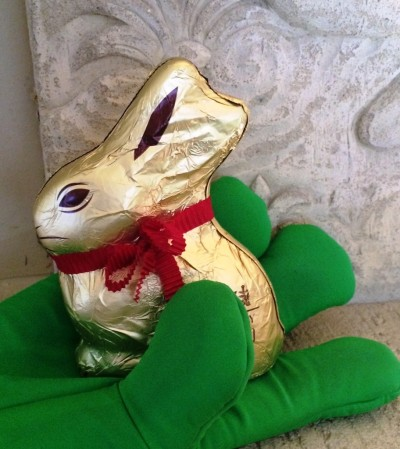 Easter bunny in Gavin's hand